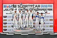 IMSA WeatherTech SportsCar Championship<br /> Mobil 1 SportsCar Grand Prix<br /> Canadian Tire Motorsport Park<br /> Bowmanville, ON CAN<br /> Sunday 9 July 2017<br /> 25, BMW, BMW M6, GTLM, Bill Auberlen, Alexander Sims, 24, John Edwards, Martin Tomczyk, 67, Ford, Ford GT, Ryan Briscoe, Richard Westbrook, celebrates, win, winners, victory lane, podium<br /> World Copyright: Scott R LePage/LAT Images