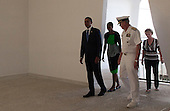 United States President Barack Obama, First Lady Michele Obama, Pacific Fleet Commander Admiral Robert F. Willard and his wife Donna WIllard enter the shrine room of the U.S.S. Arizona Memorial on Thursday, December 29, 2011 in Pearl Harbor, Hawaii. .Credit: Kent Nishimura / Pool via CNP