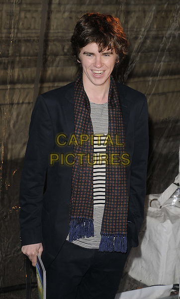 Freddie Highmore.'Cirque Du Soleil: Totem' UK Premiere, Royal Albert Hall, London, England..5th January 2012.half length black white jacket stripes striped scarf print grey gray top.CAP/CAN.©Can Nguyen/Capital Pictures.