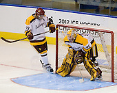 J.T. Brown (Duluth - 23), Kenny Reiter (Duluth - 35) - The University of Minnesota Duluth Bulldogs defeated the University of Maine Black Bears 5-2 in their NCAA Northeast semifinal on Saturday, March 24, 2012, at the DCU Center in Worcester, Massachusetts.