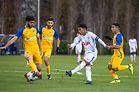 Marcus Edwards of Spurs U19 scores his goal to make it 2 0 during the UEFA Youth League match between Tottenham Hotspur U19 and Apoel Nicosia (APOEL) at Tottenham Hotspur Training Ground, Hotspur Way, England on 6 December 2017. Photo by Andy Rowland.