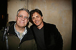Billy Warlock poses with Scott Jaeck (Santa Barbara) who stars in the off Broadway play Irish Curse at the SoHo Playhouse, New York City, New York on April 16, 2010. (Photos by Sue Coflin/Max Photos)