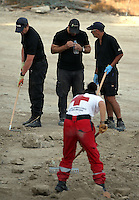 Pictured: Forensics officers assisted by Red Cross volunteers work at the farmhouse site where Ben Needham disappeared from in Kos, Greece. Tuesday 11 October 2016<br /> Re: Police teams led by South Yorkshire Police are searching for missing toddler Ben Needham on the Greek island of Kos.<br /> Ben, from Sheffield, was 21 months old when he disappeared on 24 July 1991 during a family holiday.<br /> Digging has begun at a new site after a fresh line of inquiry suggested he could have been crushed by a digger.