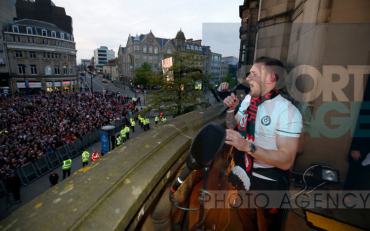 Billy Sharp of Sheffield Utd addresses the fans during the open top bus parade from Bramall Lane Stadium to Sheffield Town Hall, Sheffield. Picture date: May 2nd 2017. Pic credit should read: Simon Bellis/Sportimage
