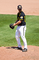 Cale Elam (4) of the Wichita State Shockers stands on the mound during a game against the Missouri State Bears in the 2012 Missouri Valley Conference Championship Tournament at Hammons Field on May 23, 2012 in Springfield, Missouri. (David Welker/Four Seam Images)
