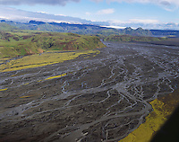 Mulakvisl river, Myrdalsjokull glacier in background. Aerial