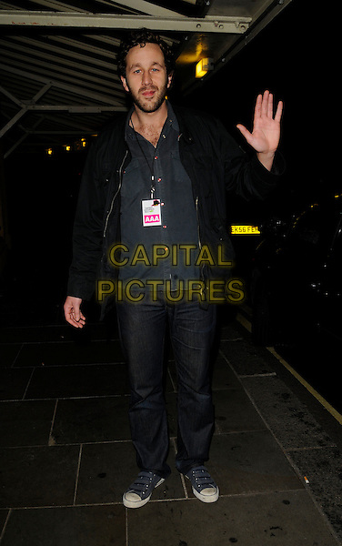 CHRIS O'DOWD.The Secret Policeman's Ball, Royal Albert Hall, Kensington Gore, London, England..October 5th, 2008.full length black jacket jeans denim hand palm waving beard facial hair .CAP/CAN.©Can Nguyen/Capital Pictures.