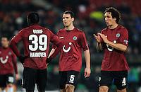FUSSBALL   EUROPA LEAGUE   SAISON 2011/2012  SECHZEHNTELFINALE Hannover 96 - FC Bruegge                                    16.02.2012 Mame Diouf, Mario Eggimann und Emanuel Pogatetz (v.l., alle Hannover 96)