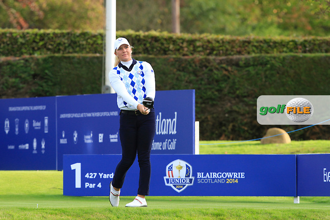 Linnea Strom (SWE) on the 1st tee during Day 2 Singles for the Junior Ryder Cup 2014 at Blairgowrie Golf Club on Tuesday 23rd September 2014.<br /> Picture:  Thos Caffrey / www.golffile.ie