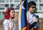 Maja Neal and Alvaro Alvarez recite the pledge during a groundbreaking ceremony at Wharton PK-8 Dual Language Academy, May 5, 2017.