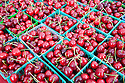 Close up of Organic Cherries on Sale at Ecology Center's Berkeley Farmers' Market which prides itself on being a 'Zero Waste Zone' and prohibiting genetically modified foods. Berkeley, California, USA