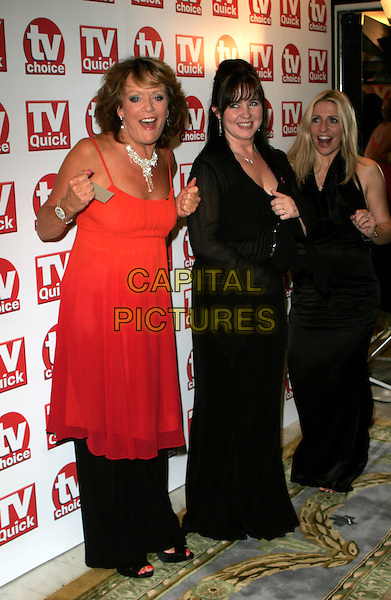 LOOSE WOMEN PRESENTERS - SHERRIE HEWSON, COLEEN NOLAN & JACKIE BRAMBLES (award for Best Daytime Show).The TV Quick & TV Choice Awards, The Dorchester Hotel, London, England.  - pressroom.September 3rd 2007.full length dress red black mouth open  .CAP/AH.©Adam Houghton/Capital Pictures