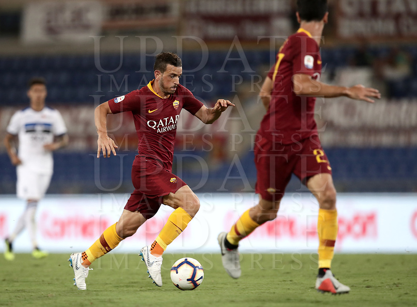 Calcio, Serie A: Roma - Atalanta, Stadio Olimpico, 27 agosto, 2018.<br /> Roma's Alessandro Florenzi is going to score during the Italian Serie A football match between Roma and Atalanta at Roma's Stadio Olimpico, August 27, 2018.<br /> UPDATE IMAGES PRESS/Isabella Bonotto