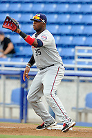 Fort Myers Miracle first baseman Kennys Vargas (35) during a game against the Dunedin Blue Jays July 20, 2013 at Florida Auto Exchange Stadium in Dunedin, Florida.  Fort Myers defeated Dunedin 3-1.  (Mike Janes/Four Seam Images)
