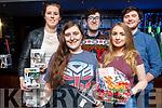 Sally Griffin (Chair Sci Fan), Jean O'Brien (Sec Sfi Fan),  Michael Edgar (Chair of Cinema Society), Megan Doyle & Ronan McLoughlin (Tres SciFan) at the SciFan galactic quiz in the Abbey Inn on Friday night last.