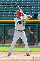 Scott Moore (12) of the Memphis Redbirds at bat against the Salt Lake Bees at Smith's Ballpark on June 18, 2014 in Salt Lake City, Utah.  (Stephen Smith/Four Seam Images)