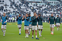 6th January 2020; Allianz Stadium, Turin, Italy; Serie A Football, Juventus versus Cagliari; Juventus players approach the supporters during the warm-up - Editorial Use