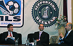 17 November 2007: MLS Deputy Commissioner Ivan Gazidis (r) makes a point as MLS Commissioner Don Garber (center) and DC United broadcaster and emcee of the Summit Dave Johnson (l) listen. The Screaming Eagles, a DC United fan group, hosted the 2007 Supporters Summit, held at Babylon Futbol Club in Falls Church, Virginia one day before MLS Cup 2007, Major League Soccer's championship game.