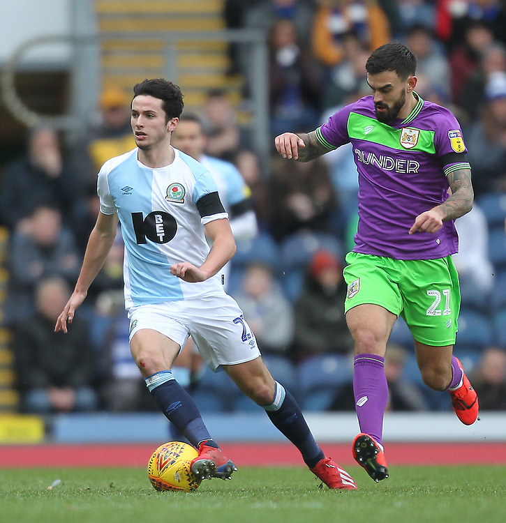 Blackburn Rovers Lewis Travis in action with Bristol City's Marlon Pack<br /> <br /> Photographer Mick Walker/CameraSport<br /> <br /> The EFL Sky Bet Championship - Blackburn Rovers v Bristol City - Saturday 9th February 2019 - Ewood Park - Blackburn<br /> <br /> World Copyright © 2019 CameraSport. All rights reserved. 43 Linden Ave. Countesthorpe. Leicester. England. LE8 5PG - Tel: +44 (0) 116 277 4147 - admin@camerasport.com - www.camerasport.com