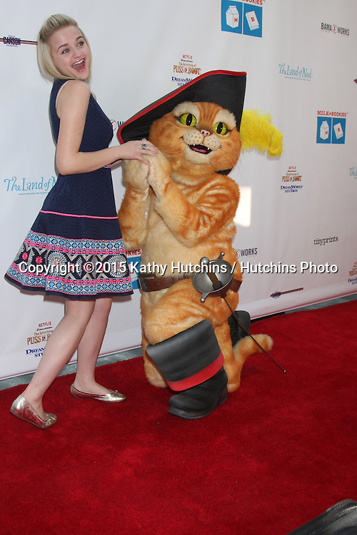 LOS ANGELES - FEB 19:  Joey King, Puss in Boots at the Milk+Bookies Sixth Annual Story Time Celebration at the Toyota Grand Prix Racecourse on April 19, 2015 in Long Beach, CA