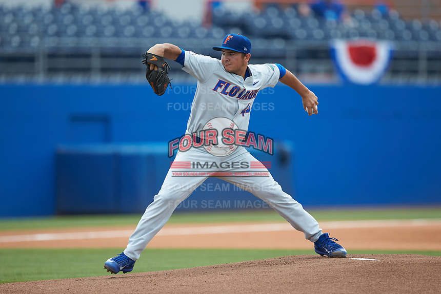 Florida Gators pitcher Austin Langworthy (44) in action against the Wake Forest Demon Deacons in the completion of Game Two of the Gainesville Super Regional of the 2017 College World Series at Alfred McKethan Stadium at Perry Field on June 12, 2017 in Gainesville, Florida. The Demon Deacons walked off the Gators 8-6 in 11 innings. (Brian Westerholt/Four Seam Images)
