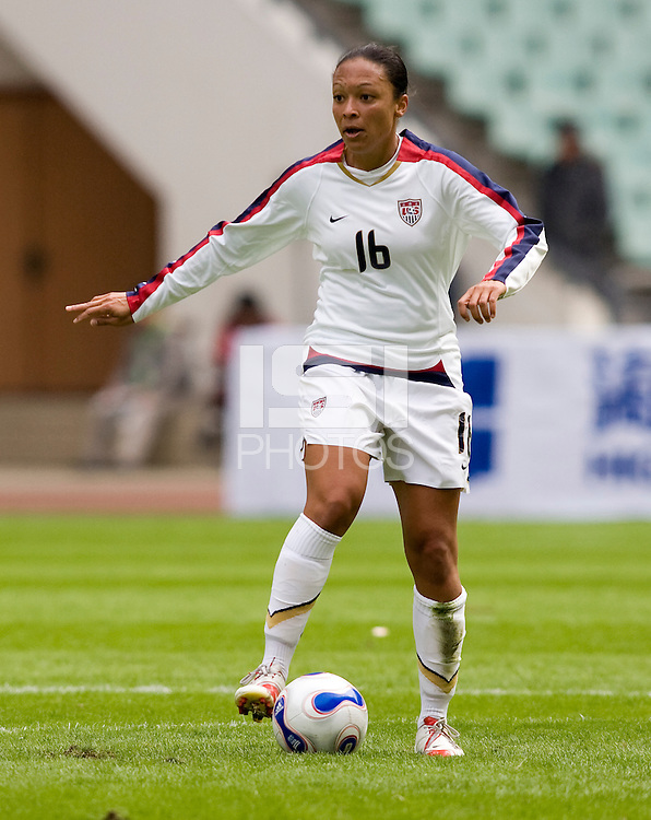 Angela Hucles. The U.S. defeated Canada, 4-0, during the Four Nations Tournament in Guangzhou, China on January 16, 2008.