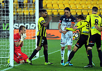 Roy Krishna celebrates scoring the equaliser during the A-League football match between Wellington Phoenix and Melbourne Victory at Westpac Stadium in Wellington, New Zealand on Friday, 10 January 2018. Photo: Dave Lintott / lintottphoto.co.nz