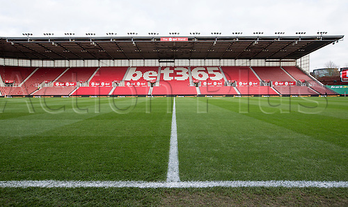 03.12.2016. Bet365 Stadium, Stoke, England. Premier League Football. Stoke City versus Burnley. General view of the pitch and stands taken at ground level from the centre line of the pitch.