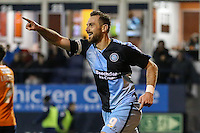 Paul Hayes of Wycombe Wanderers celebrates scoring his team's second goal against Luton Town to make it 0-2 during the Sky Bet League 2 match between Luton Town and Wycombe Wanderers at Kenilworth Road, Luton, England on 26 December 2015. Photo by David Horn.