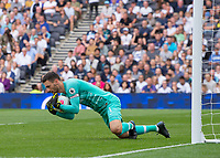 Hugo Lloris of Tottenham Hotspur makes a save during the Premier League match between Tottenham Hotspur and Crystal Palace at Wembley Stadium, London, England on 14 September 2019. Photo by Vince  Mignott / PRiME Media Images.