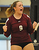 Noelle Bryggman #9 of Whitman reacts after a point in a non-league varsity girls volleyball match against Centereach at New York Institute of Technology in Old Westbury on Wednesday, Sept. 20, 2017. Whitman rallied from a two-set deficit to win 21-25, 16-25, 25-16, 25-22, 25-19.