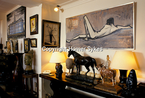 Bernard Buffet French artist expressionist painter (1928-1999) France Circa 1995. Interior home in Tourtour Provence France. 1994.