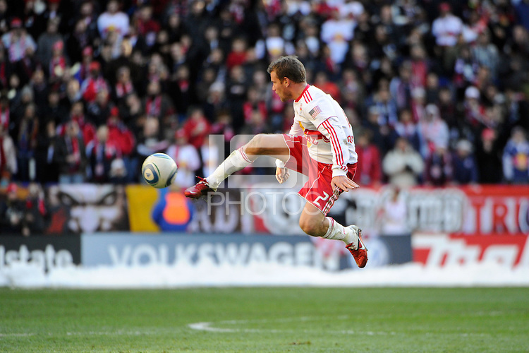Teemu Tainio (2) of the New York Red Bulls during the 1st leg of the Major League Soccer (MLS) Western Conference Semifinals against the Los Angeles Galaxy at Red Bull Arena in Harrison, NJ, on October 30, 2011.