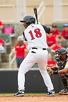 Juan Silverio #18 of the Kannapolis Intimidators at bat against the West Virginia Power at Fieldcrest Cannon Stadium on April 20, 2011 in Kannapolis, North Carolina.   Photo by Brian Westerholt / Four Seam Images