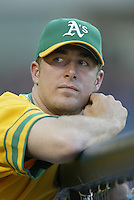 Mark Mulder of the Oakland Athletics during a 2002 MLB season game against the Los Angeles Angels at Angel Stadium, in Anaheim, California. (Larry Goren/Four Seam Images)