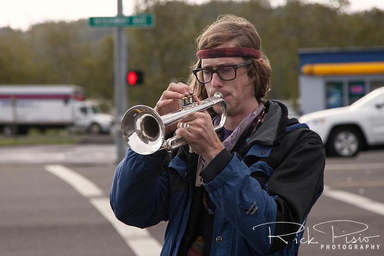 Street Musician Along US 101 in Reedsport, Oregon.