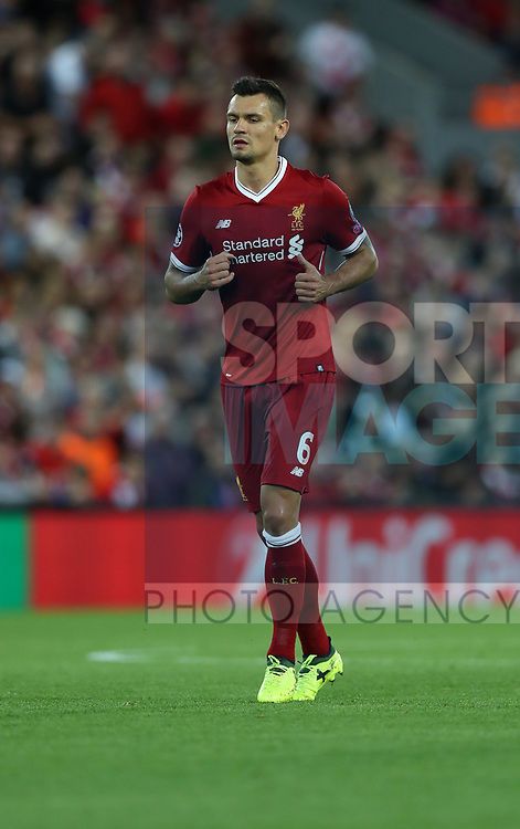 Dejan Lovren of Liverpool during the Champions League playoff round at the Anfield Stadium, Liverpool. Picture date 23rd August 2017. Picture credit should read: Lynne Cameron/Sportimage