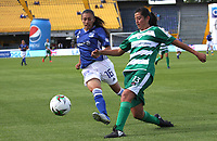 BOGOTÁ- COLOMBIA,14-07-2019:Karen Paez (Izq.) jugadora de Millonarios femenino  disputa el balón con Tatiana Vera (Der.) jugadora de La Equidad femenino  durante el primer partido de la Liga Águila Femenina 2019 jugado en el estadio Nemesio Camacho El Campín de la ciudad de Bogotá. /Karen Paez(L) player of Millonarios fights the ball  against of Tatiana Vera (R) player of Equidad during the firts match for the Liga Aguila women  2019 played at the Nemesio Camacho El Campin stadium in Bogota city. Photo: VizzorImage / Felipe Caicedo / Staff