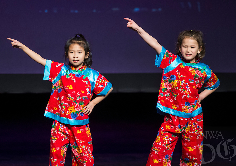 NWA Democrat-Gazette/BEN GOFF @NWABENGOFF<br /> Children perform a dance Saturday, Feb. 10, 2018, during the Chinese New Year Gala presented by the Chinese Association of Northwest Arkansas at Springdale Har-Ber High. The event celebrated the Year of the Dog with a dinner and a show featuring traditional and contemporary Chinese dance, music, fashion and more.