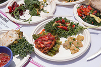 "In a competition co-hosted by Vegheads and WellFed, teams of students battled against each other and the clock to prepare a meal with a variety of fresh organic produce, grains, legumes, cooking oils and spices. Congratulations to this year's winners: Team Spinach (Joyce Lee, Elise Hanson, Anika Lavine, Emma Schulte) won Team Congeniality. The ""Reigning Champs"" (Marah Bragdon and Renee Hytha) won Best Taste. The Cannibal Cabbages (Kelsey Palghat, Madi Ziomek, Adam Bookman Levy) won Most Creative. The Galarza Girls (Carly Zarrow and Lily Berrin) won Best Presentation. April 25, 2013 in the quad. (Photo by Marc Campos, Occidental College Photographer)"
