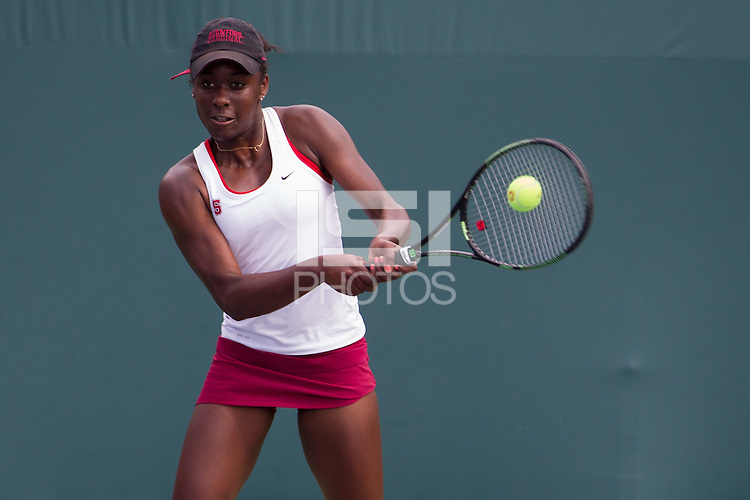 STANFORD, CA - FEBRUARY 28, 2016--<br /> Melissa Lord, during a match against Florida at the Taube Tennis Stadium at Stanford University. Stanford won 4-3.
