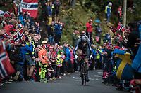 Hamish Bond (NZL) up Mount Fløyen<br /> <br /> Men Elite Individual Time Trial<br /> <br /> UCI 2017 Road World Championships - Bergen/Norway