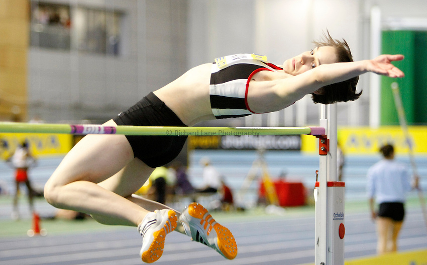 Photo: Richard Lane/Richard Lane Photography. Aviva World Trials & UK Championships. 13/02/2010. Eloise Newman in the women's high jump.