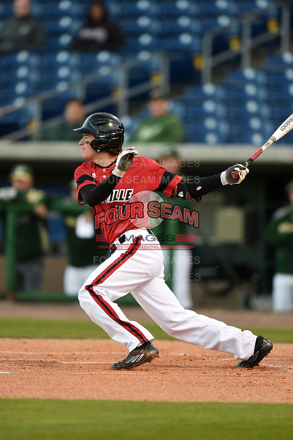 Louisville Cardinals infielder Nick Solak (17) at bat during a game against the USF Bulls on February 14, 2015 at Bright House Field in Clearwater, Florida.  Louisville defeated USF 7-3.  (Mike Janes/Four Seam Images)