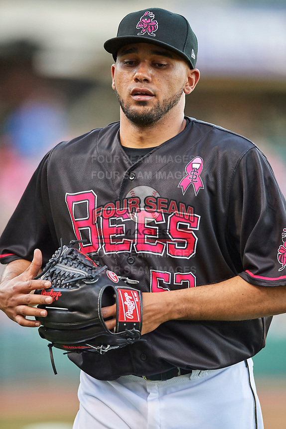 Salt Lake Bees starting pitcher Vicente Campos (53) during the game against the Iowa Cubs in Pacific Coast League action at Smith's Ballpark on May 13, 2017 in Salt Lake City, Utah. Salt Lake defeated Iowa  5-4. (Stephen Smith/Four Seam Images)