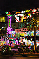 Las Vegas, Nevada.  Las Vegas Boulevard, The Strip, a Food Court just before Midnight.