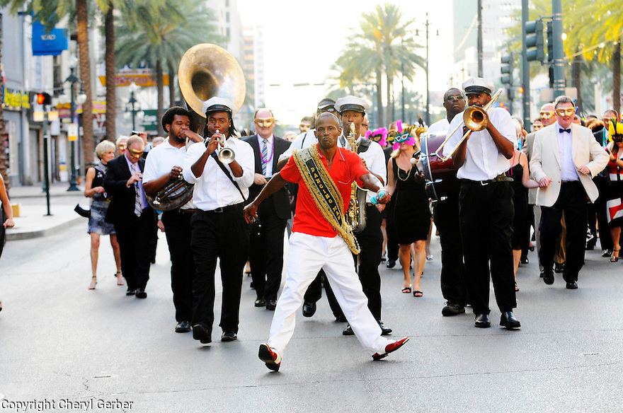 Secondline in French Quarter, featuring Dancing Man 504