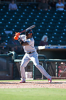 Salt River Rafters center fielder Monte Harrison (4), of the Miami Marlins organization, at bat during an Arizona Fall League game against the Surprise Saguaros on October 9, 2018 at Surprise Stadium in Surprise, Arizona. The Rafters defeated the Saguaros 10-8. (Zachary Lucy/Four Seam Images)