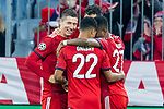 07.11.2018, Allianz Arena, Muenchen, GER, UEFA CL, FC Bayern Muenchen (GER) vs AEK Athen (GRC), Gruppe E, UEFA regulations prohibit any use of photographs as image sequences and/or quasi-video, im Bild Jubel nach dem Tor zum 2-0 durch Robert Lewandowski (FCB #9) mit Mats Hummels (FCB #5)  David Alaba (FCB #27) Serge Gnabry (FCB #22) <br /> <br /> Foto &copy; nordphoto / Straubmeier