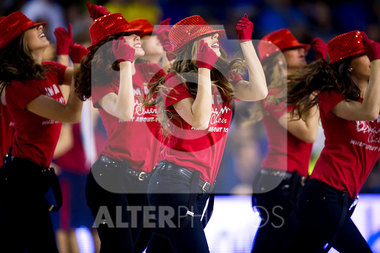 FC Barcelona's cheerleaders perform during Liga Endesa ACB 2013-2014 match against Gipuzkoa Basket Club. November 3, 2013. (ALTERPHOTOS/Alex Caparros)